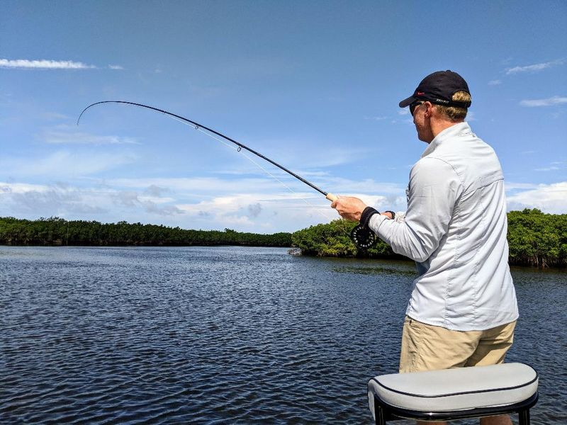 A fly fisherman on a Crystal river fishing charter