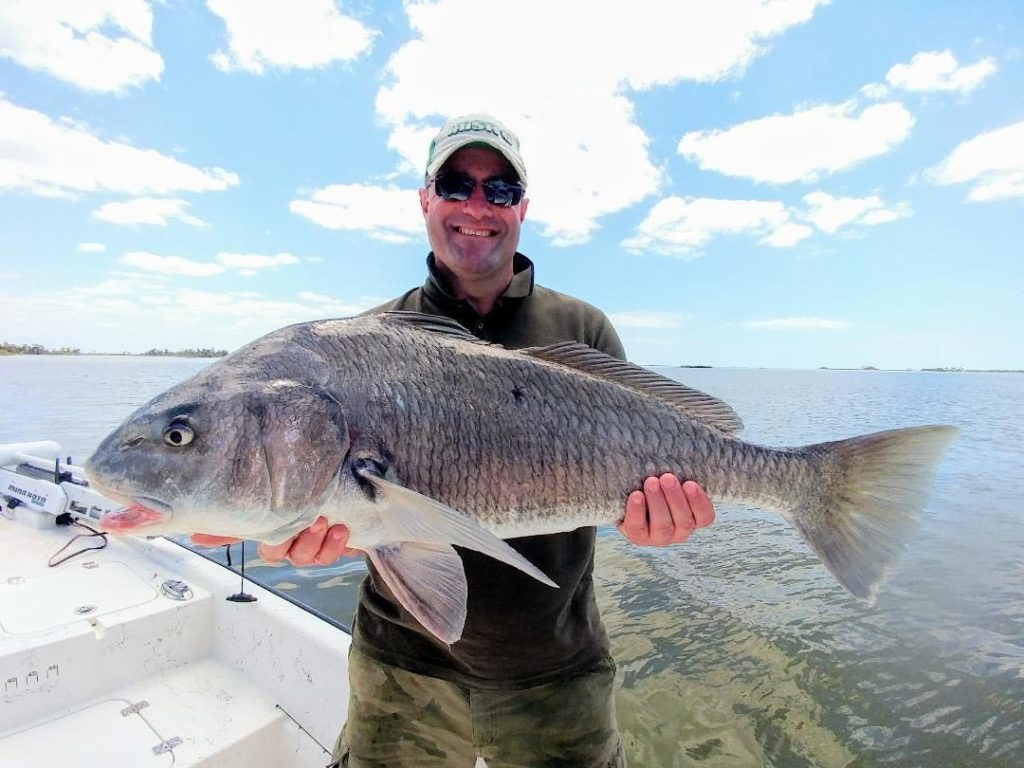 a picture of a fisherman holding a large blackdrum they caught on a inshore fishing charter in crystal river.