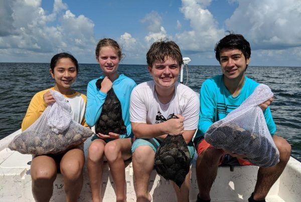 a picture of four people holding bags full of scallops
