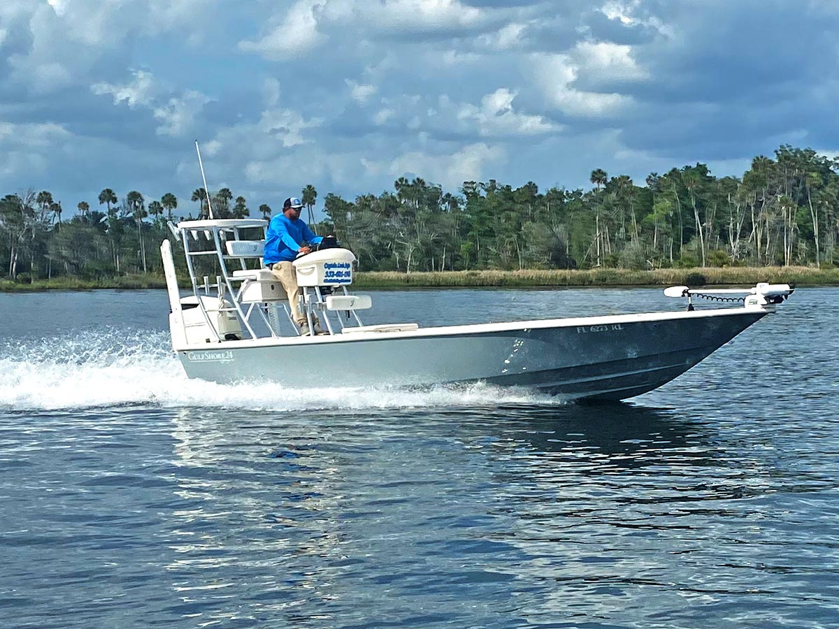 The Young Boats Gulfshore 24 is the perfect boat for the Crystal River area.  From fishing in 30 feet of water to fishing in 1 foot of water this boat can take you there comfortably and in style.  The custom bay boat is made right here in Citrus County having all factors of shallow water grouper fishing in mind.  Our fishery is unlike any other in the state which is why our guide boats are different than anywhere else.  With a full tower in the rear of the boat it leaves the rest of our boat for a massive fishing platform.